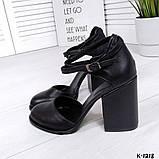 Элегантные черные кожаные туфли на каблуке, фото 3