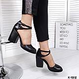 Элегантные черные кожаные туфли на каблуке, фото 4