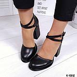 Элегантные черные кожаные туфли на каблуке, фото 6