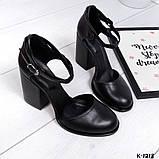 Элегантные черные кожаные туфли на каблуке, фото 7