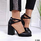 Элегантные черные кожаные туфли на каблуке, фото 8