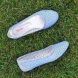Балетки кожаные на низком ходу, цвет голубой, фото 5