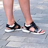 Босоножки спортивные кожаные на шнурках, цвет черный/белый, фото 2
