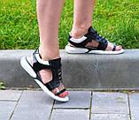 Босоножки спортивные кожаные на шнурках, цвет черный/белый, фото 3
