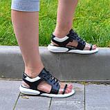Босоножки спортивные кожаные на шнурках, цвет черный/белый, фото 5