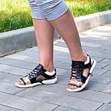 Босоножки спортивные кожаные на шнурках, цвет черный/белый, фото 6