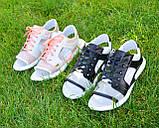 Босоножки спортивные кожаные на шнурках, цвет черный/белый, фото 7