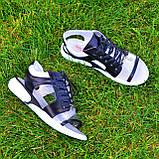 Босоножки спортивные кожаные на шнурках, цвет черный/белый, фото 8