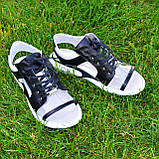 Босоножки спортивные кожаные на шнурках, цвет черный/белый, фото 9