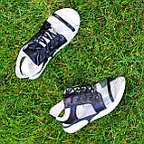 Босоножки спортивные кожаные на шнурках, цвет черный/белый, фото 10