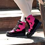 Ботинки детские замшевые на липучках. Цвет черный/фуксия, фото 2
