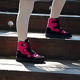 Ботинки детские замшевые на липучках. Цвет черный/фуксия, фото 3
