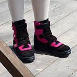 Ботинки детские замшевые на липучках. Цвет черный/фуксия, фото 4