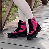 Ботинки детские замшевые на липучках. Цвет черный/фуксия, фото 5
