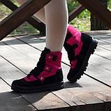 Ботинки детские замшевые на липучках. Цвет черный/фуксия, фото 6