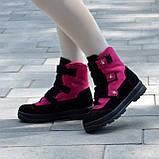 Ботинки детские замшевые на липучках. Цвет черный/фуксия, фото 7