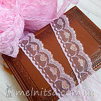 Кружево Сердечки люрекс 3 см, розовый