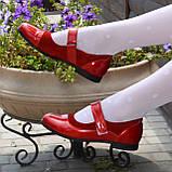 Туфли для девочки на липучках, натуральная замша и лак. Цвет красный, фото 2