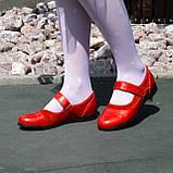 Туфли для девочки на липучках, натуральная замша и лак. Цвет красный, фото 3