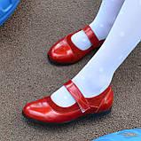 Туфли для девочки на липучках, натуральная замша и лак. Цвет красный, фото 4