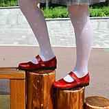 Туфли для девочки на липучках, натуральная замша и лак. Цвет красный, фото 6