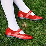 Туфли для девочки на липучках, натуральная замша и лак. Цвет красный, фото 8