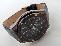 Мужские часы HUBLOT - Big Bang кожаный черный ремешок, цвет черный