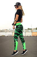 """Спортивные лосины с ярким поясом и вставками на ножках """"Бани"""" (чёрно-зелёный), фото 1"""