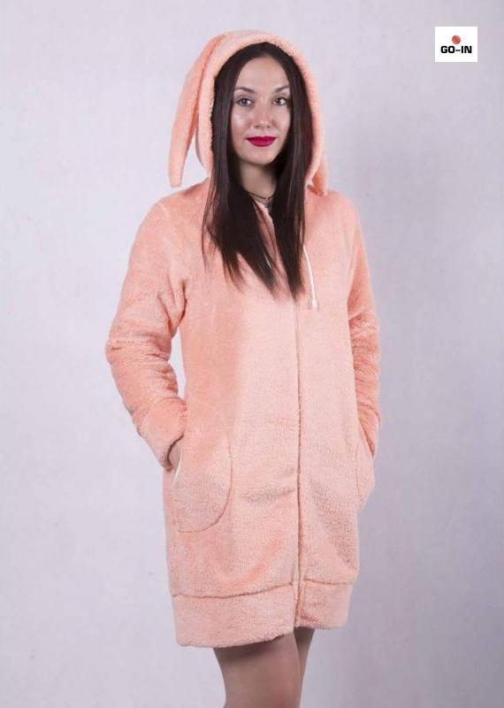 Махровый халат женский на молнии короткий с ушами заяц персик