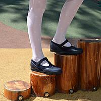 Туфли для девочек из кожи и замши синего цвета