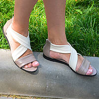 Босоножки римлянки женские кожаные, цвет визон/бежевая кожа