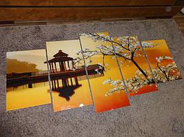 Модульная картина на стекле из нескольких частей - сакура на закате - производство в Днепре 1
