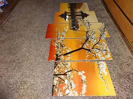 Модульная картина на стекле из нескольких частей - сакура на закате - производство в Днепре 2