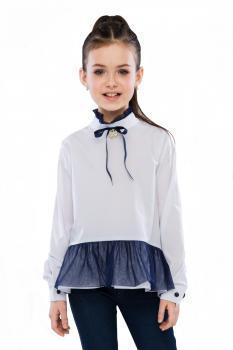 Шкільна форма Блуза Глэйдис Білий-синій Suzie Україна 10 років, 140, Білий/синій