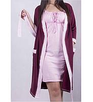 Комплект в роддом халат с начесом и ночная рубашка