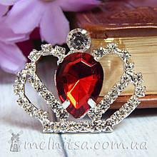 Стразовый декор Корона, 30*36 мм, бордовый камень