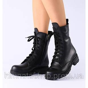 Черевики жіночі шкіряні чорні на шнурівці by Vinata, весна/осінь, розмір 36-41