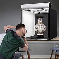 Фото Студия(Лайтбокс)для предметной съемкис Led подсветкой и регулятором освещения, 3 фона 40x40x40 см