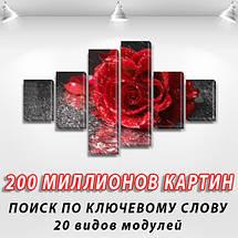 Модульная картина Роза на черном, 70x120 см, (25x18-2/35х18-2/65x18-2), фото 2