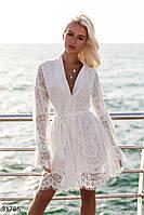 Кружевное короткое платье с длинным рукавом цвет белый