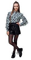 Блуза Your SPACE для девочки с декоративными рюшами с принтом Звезды 140