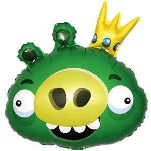 Фольгированный шар Angry Birds Король свиней 54см х 60см Зеленый