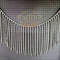 Стразовая цепочка-бахрома, цвет Crystal, высота 8 см*1м
