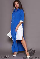 Платье трикотажное электрик длинное (размеры от 50 до 60)