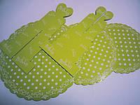 Подставка для торта 3-х ярусная картон.салатовый горошек(код 04126)