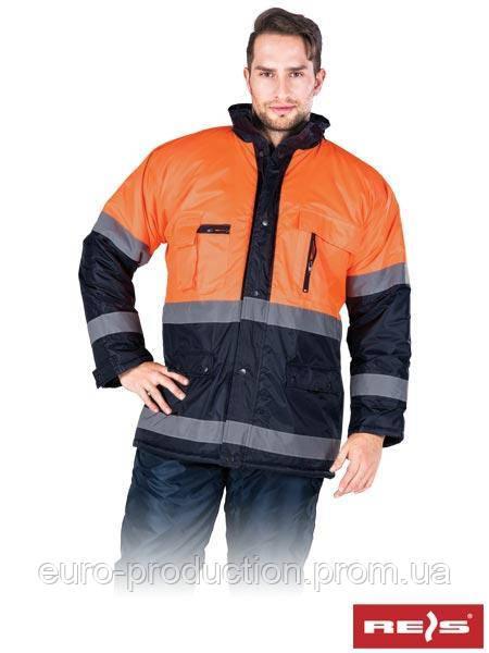Куртка зимняя со светоотражающими полосками BLUE-ORANGE