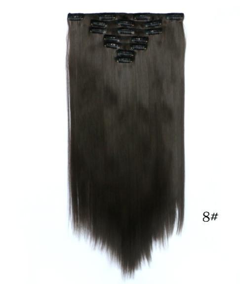 Накладные ровные волосы  7 прядей на клипсах, трессы длинна 55 см 7006№8.