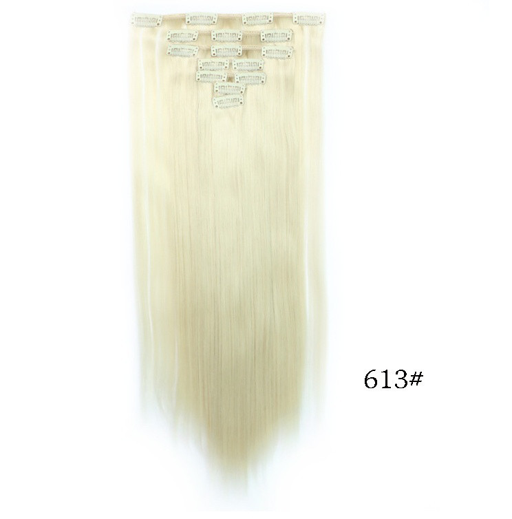 Накладные ровные волосы  7 прядей на клипсах, трессы длинна 55 см. 7006№613