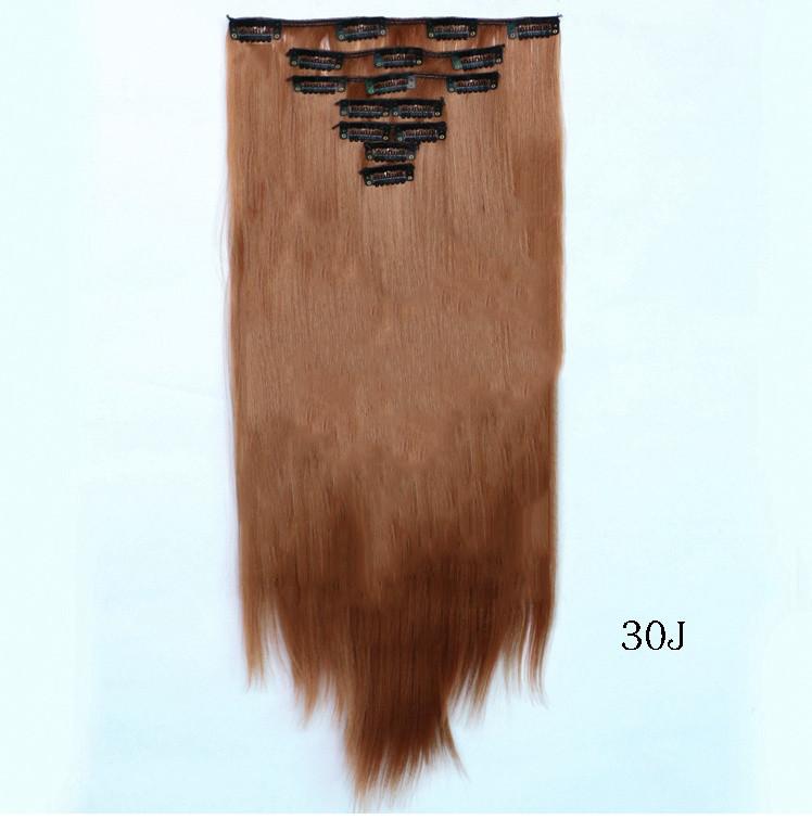 Накладные ровные волосы  7 прядей на клипсах, трессы длинна 55 см. 7006№30j