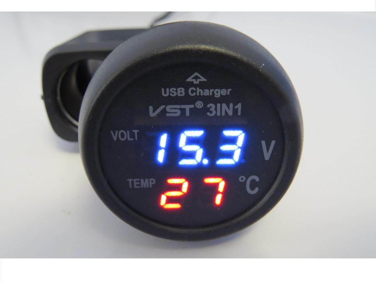 Цифровой термометр вольтметр USB VST 706-5 в прикуриватель для автомобиля